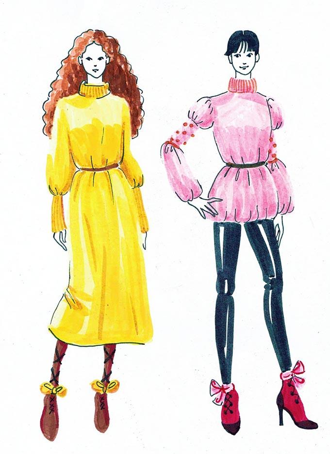 Modezeichnung Figurine Zeichnung