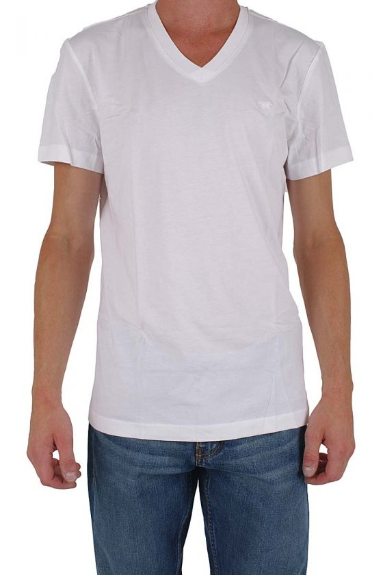 Mustang T-Shirt - R + V - Neck Two Pack - weiß