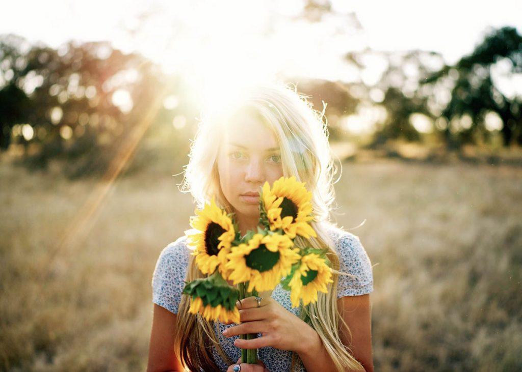Sonnenblumen Frau Blond