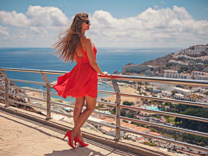 Kleid Rot Urlaub